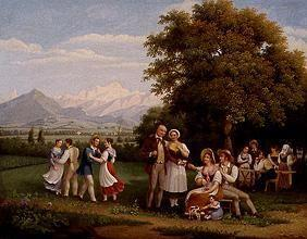 Feast in the country near Geneva in view of the Mont Blanc