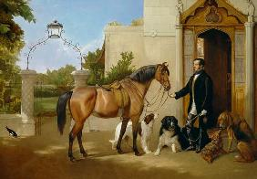 A Gentleman with his Hunter and Dogs outside his house