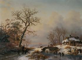 Winter landscape, way with rider and skate runner on a river