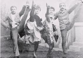 Dancing the Can-Can, late 19th century (b/w photo)