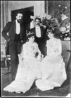 L-R: Ernest Rouart (1874-1942) and his wife Julie Manet (1878-1967), Paul Valery (1871-1945) and his