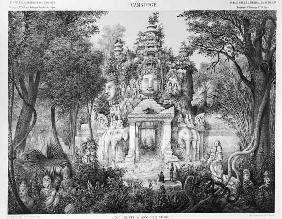 Doorway of Angkor Thom, illustration from 'Atlas du voyage d'exploration en Indochine, 1866-68' by D