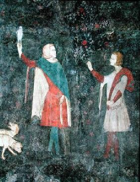 Detail of two falconers, from the Stag Room