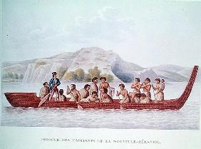 Dugout canoe piloted natives of New Zealand, illustration from ''Voyage Around the World in the Corv