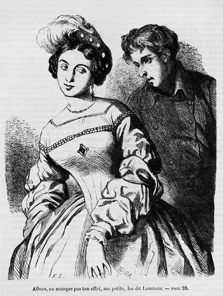 Etienne Lousteau speaking to an actress, illustration from ''Les Illusions perdues'' Honore de Balza