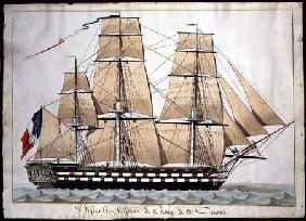 'L'Inflexible Vaisseau de v. Rang de 90 Canons' (The 90 Gun Ship of the Line) c.1835 (w/c with pen &