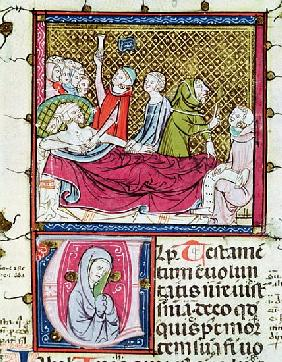 Ms 3076 fol.56r Dying Man Surrounded Doctors and Family, Dictating his Will, from ''Justiniani in Fo