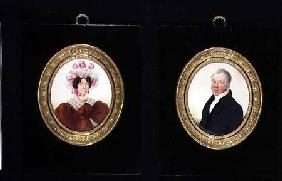 Pair of Portrait Miniatures of a Lady and a Gentleman