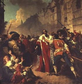 The Prime Minister of France, Comte Louis Mathieu Mole (1781-1855) confronted by agitators