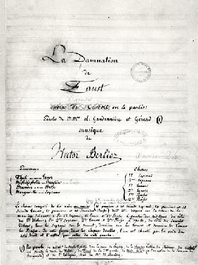 Title page of ''La Damnation de Faust'' by Hector Berlioz (1803-69) 1846