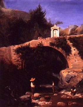View of a Bridge and River Outside Rome