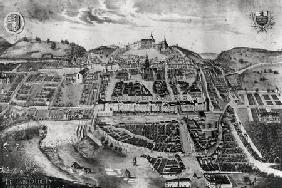 View of the chateau and town of Joinville from a painting of 1639