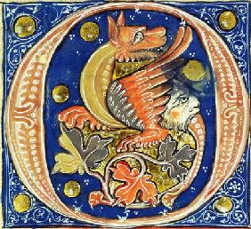 Historiated initial 'O' depicting a winged griffin (vellum)