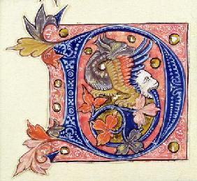 Historiated Initial 'D' depicting a fish with a human head (vellum)