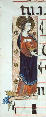 An Apostle, possibly St. John, c.1320 (vellum)