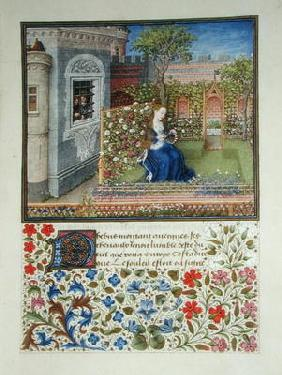 Ms 2617 The prisoners listening to Emily singing in the garden, from La Teseida, by Giovanni Boccacc