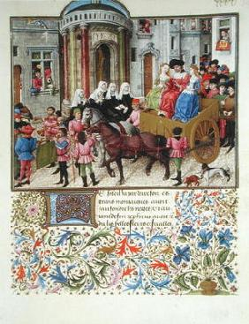 Ms 2617 Theseus makes a triumphal entry into Athens, from La Teseida, by Giovanni Boccaccio (1313-75