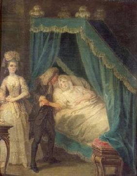 Bedside visit by the doctor (oil on canvas)