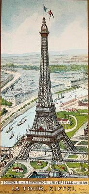 Postcard depicting the Eiffel Tower at the Exposition Universelle, 1889 (colour litho)
