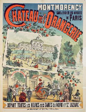 Travel poster advertising trips by train from Paris to the 'Chateau de l'Orangerie' at Montmorency