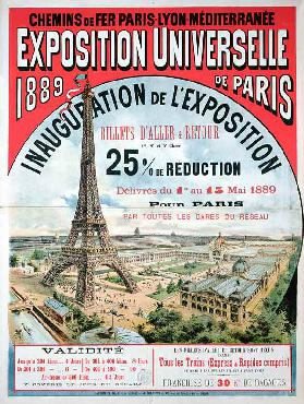 Poster advertising reduced price train tickets to the Exposition Universelle of 1889, from the Chemi