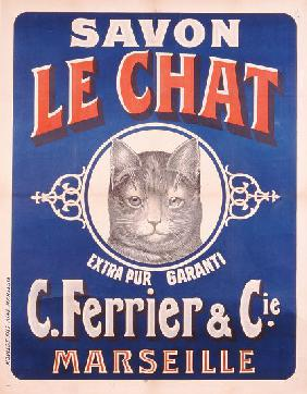 Advertisement for Savon le Chat, printed by Moullot Fils, Marseilles