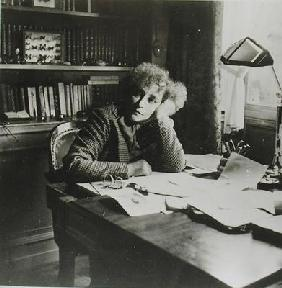 Portrait of Sidonie Gabrielle Colette (1873-1954), in her study (b/w photo)