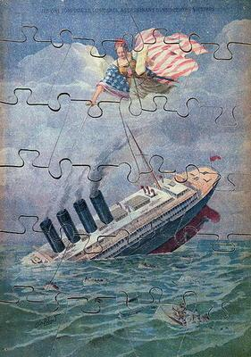 The Sinking of the Lusitania, 7th May 1915, jigsaw puzzle for children (colour litho)