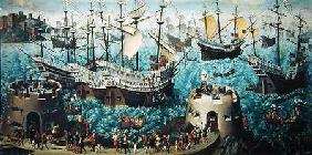 Embarkation of Henry VIII (1491-1547) on Board the Henry Grace a Dieu in 1520, copied from a paintin