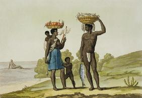 A slave family of the Loango tribe, Surinam, from 'Le Costume Ancien et Moderne', Volume II, plate 6