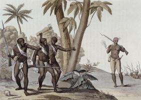 Freed slaves hunting down escaped slaves in Surinam, Guiana, illustration from 'Le Costume Ancien et