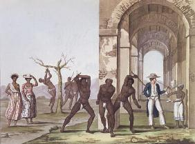 Plantation in Surinam, illustration from 'Le Costume Ancien et Moderne' by Jules Ferrario, c.1820 (c