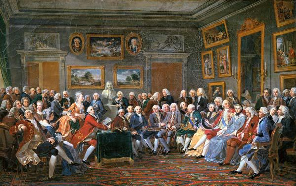 Reading of a tragedy of Voltaire in the drawing-room of the Mme Geoffrin