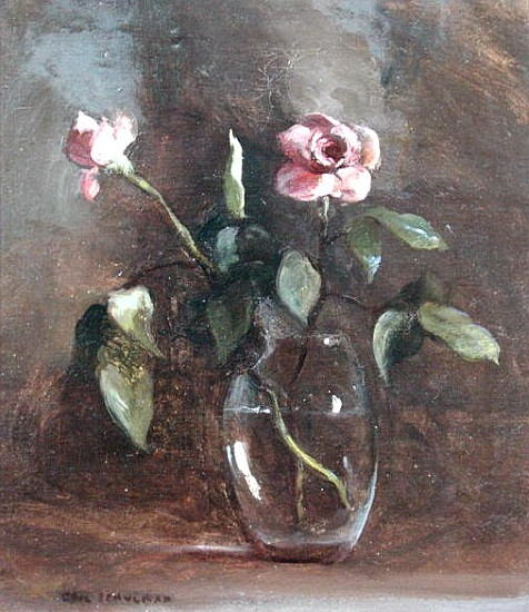 Pink Roses In Glass Vase Oil On Canvas Gail Schulman As Art