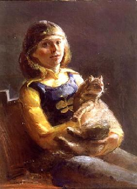 Girl with Cat (oil on canvas)