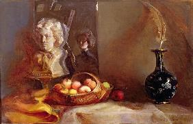 Still Life with Apples and Beethoven''s Bust (oil on canvas)