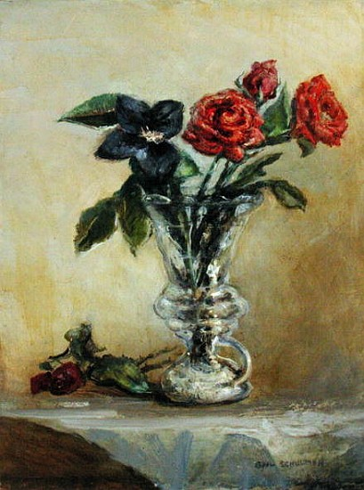 Two Roses In A Glass Vase With Opening T Gail Schulman As Art