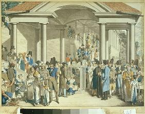 Health Community at the Karlsbader Fountain, 1810 (aquatint drawing)