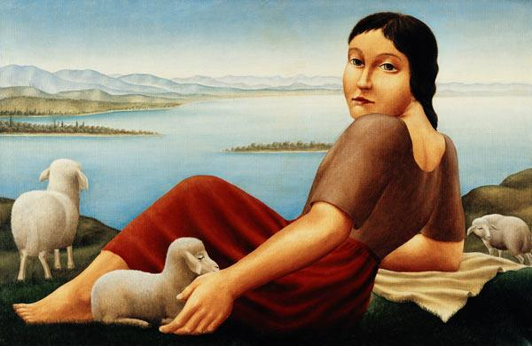 Girl with sheep by Georg Schrimpf (1923)