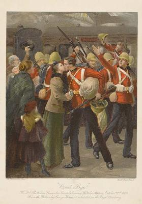 Good bye! The 3rd Battalion Grenadier Guards Leaving Waterloo Station