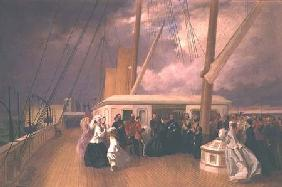 Queen Victoria investing the Sultan with the Order of the Garter on board the Royal Yacht 17th July