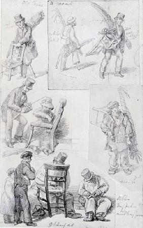 Chair menders on the streets of London, 1820-30