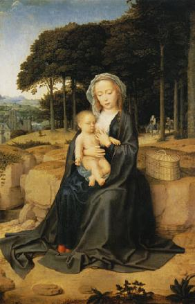 Maria with the child at the quiet on the flight to Egypt