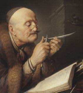 Scholar sharpening a quill pen