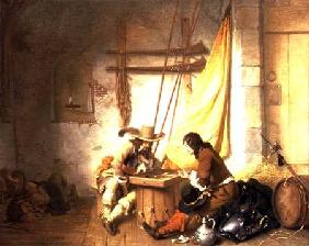 van den Eeckhout, Gerbrand : Soldiers Playing Tric-Trac