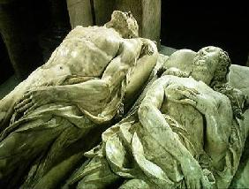 Tomb of Catherine de Medici (1519-89) and Henri II (1519-59) detail of the effigies of Catherine and