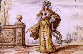 A Bejewelled Allegorical Woman on a Terrace