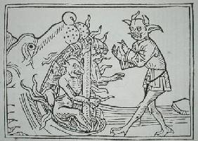 The Devil Belial before the Gates of Hell, from 'Das Buch Belial', published in Augsburg