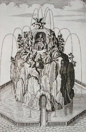 Fountain design, from 'Architectura Curiosa Nova', by Georg Andreas Bockler (1617-85)