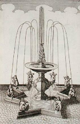 Mermaid fountain, from 'Architectura Curiosa Nova', by Georg Andreas Bockler (1617-85)